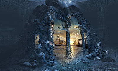 Surrealism Royalty Free Images - Lost City of Atlantis Royalty-Free Image by George Grie