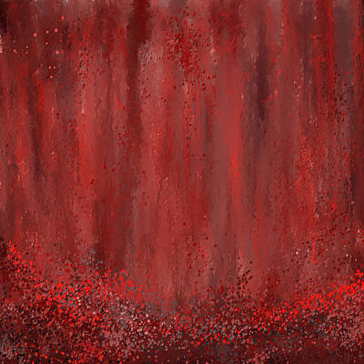 Red Wine Painting - Lost Garden- Marsala Art by Lourry Legarde