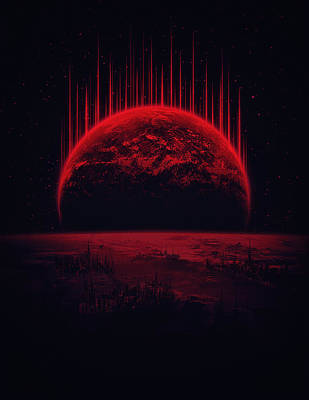 Lost Home Colosal Future Sci Fi Deep Space Scene In Diabolic Red Art Print by Philipp Rietz
