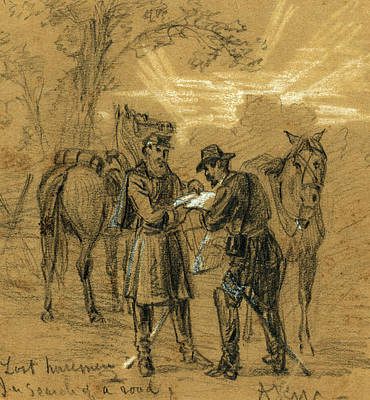 Chinese American Drawing - Lost Horsemen. In Search Of A Road by Quint Lox