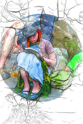 Digital Art - Lost In A World Of Reading by John Haldane