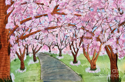 Painting - Lost In Pink Cherry Trees Art by Valerie Garner