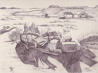 Ford Model T Car Drawing - Lost In The Weeds by Larry Fox