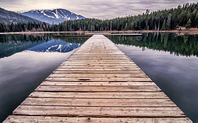 Mountain Reflection Lake Summit Mirror Photograph - Lost Lake Dock by James Wheeler