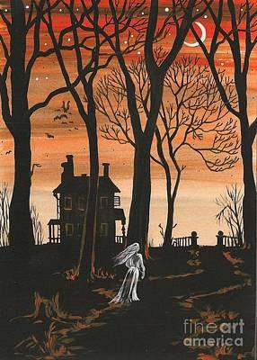 Haunted House Painting - Lost Soul by Margaryta Yermolayeva