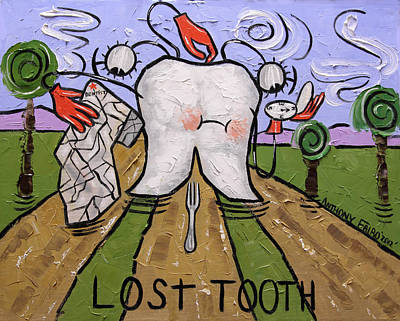 Art Paper Painting - Lost Tooth by Anthony Falbo