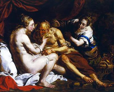 Male And Female Nude Photograph - Lot And His Daughters, 1770 Oil On Canvas by Pierre Joseph Verhaghen