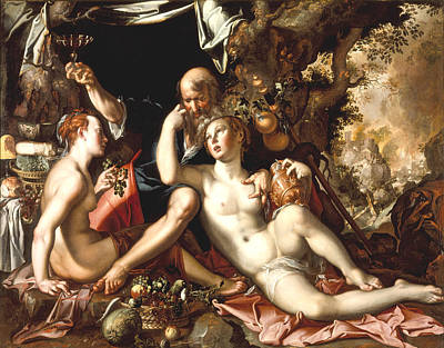 Lot And His Daughters Art Print by Joachim Antonisz Wtewael