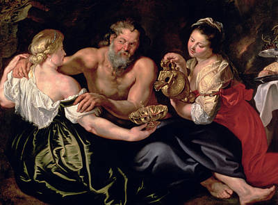 Pouring Painting - Lot And His Daughters by Rubens