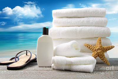 Lotion  Towels And Sandals With Ocean Scene Art Print by Sandra Cunningham