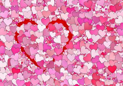 Valentines Day Digital Art - Lots Of Hearts . . . Lots Of Love by Daniel Hagerman