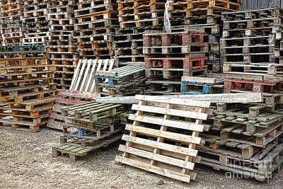Lots Of Pallets Art Print by Olivier Le Queinec