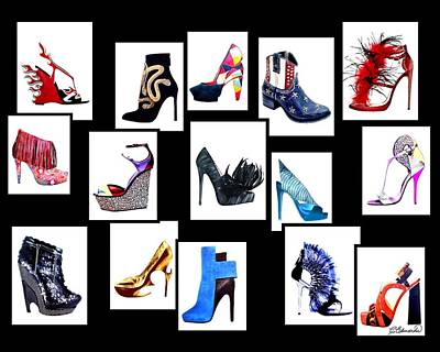 Shoes Digital Art - Lots Of Shoes by Cindy Edwards