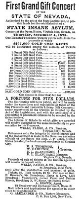 Insane Painting - Lottery Advertisement, 1873 by Granger