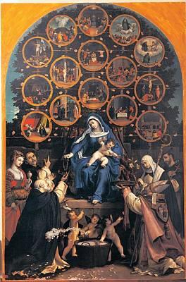 Lotto Lorenzo, Madonna Of The Rosary Art Print by Everett