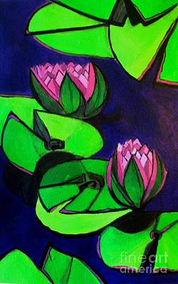 Painting - Lotus 2 Botanical Flowers by Grace Liberator