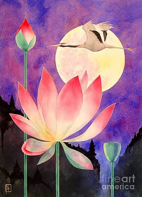 Crane Painting - Lotus And Crane by Robert Hooper
