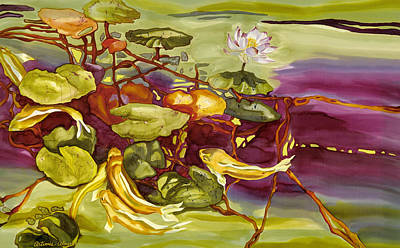 Painting - Lotus And Goldfish by Artimis Alcyone