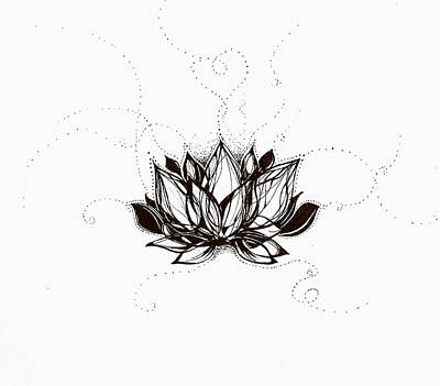 Drawing - Lotus by Andrea Carroll