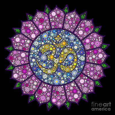 Flower Design Digital Art - Lotus Aum by Tim Gainey