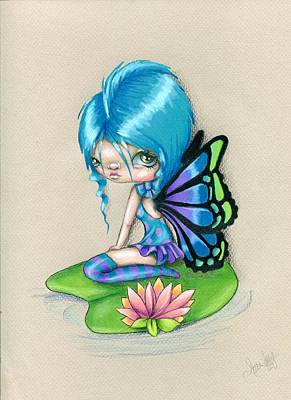 Whimsy Drawing - Lotus Blossom by Sour Taffy