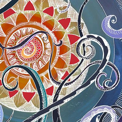 Tendrils Drawing - Lotus by Brenda Erickson