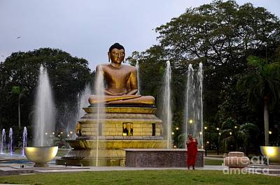 Photograph - Lotus Buddha Statue With Fountains In Park With Buddhist Monk Colombo Sri Lanka by Imran Ahmed