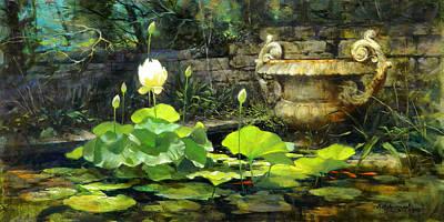 Lotus Bud Painting - Lotus by David Henderson