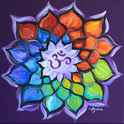 Art Print featuring the painting Lotus Flower by Agata Lindquist