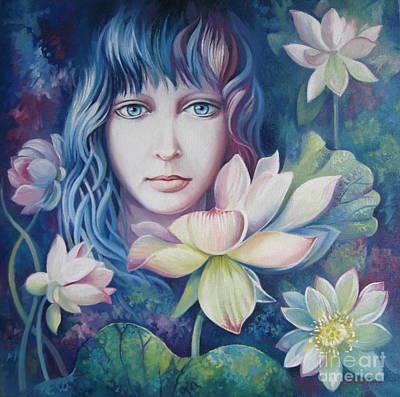 White Waterlily Painting - Lotus Flower by Elena Oleniuc