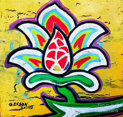 Eco-art Painting - Lotus Flower by Genevieve Esson