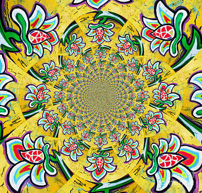 White Lotus Painting - Lotus Flower Kaleidoscope Mandela by Genevieve Esson