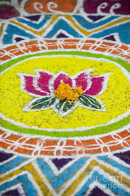 India Photograph - Lotus Flower Rangoli by Tim Gainey