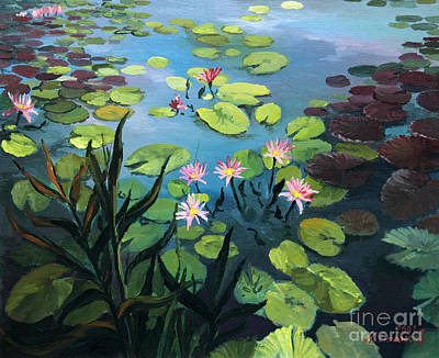 Lotus Leaves Painting - Lotus Flowers  by Kiril Stanchev