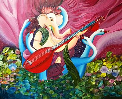 Indian Musical Instrument Painting - Lotus Ganesha by Rupa Prakash