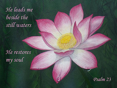 Lotus Lily Psalm Twenty Three Art Print