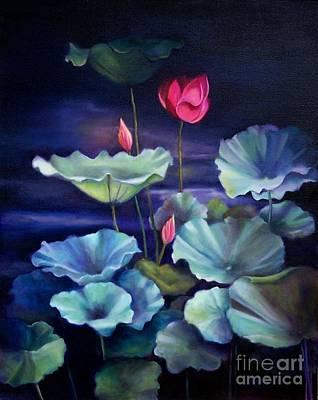 Painting - Lotus On Dark Water by Marlene Book