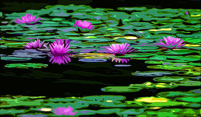 Lilly Pond Mixed Media - Lotus Pads by Brian Stevens