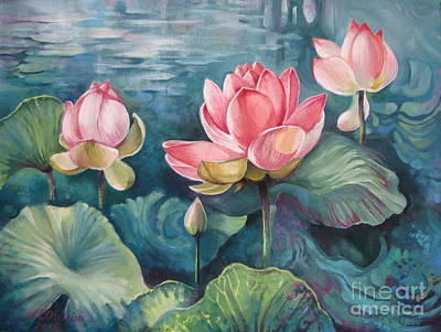 Lotus Leaves Painting - Lotus Pond by Elena Oleniuc