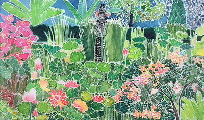Waiting Girl Wall Art - Painting - Lotus Pond Ubud Bali by Hilary Simon