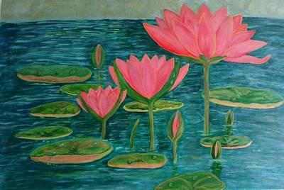 Lotus Bud Painting - Lotus by Shakti Sharma