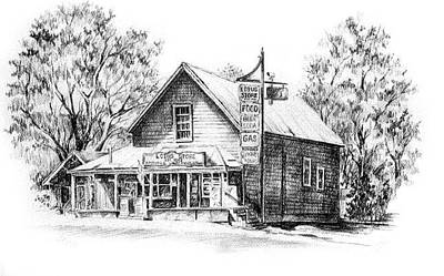 Country Store Drawing - Lotus Store by Jonni Hill