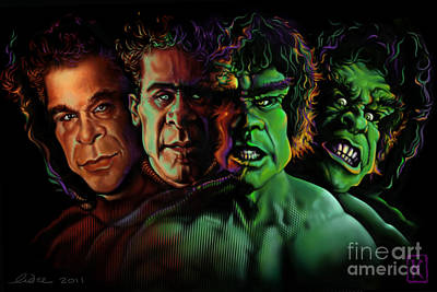 Digital Art Digital Art Drawing - Lou Ferrigno Hulk by Andre Koekemoer