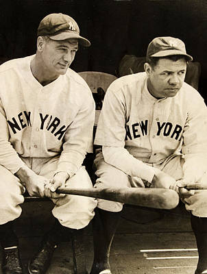 Babe Ruth Digital Art - Lou Gehrig And Babe Ruth by Bill Cannon