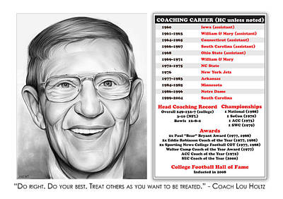 Mixed Media Royalty Free Images - Lou Holtz Royalty-Free Image by Greg Joens