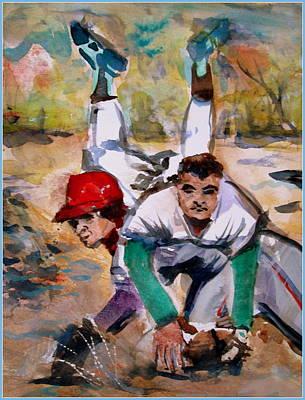 Cal Ripken Painting - Lou Whitaker And Cal Ripken In Double Play by Mindy Newman