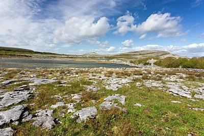 Burren Photograph - Lough Geallain And Mullagh More by Bob Gibbons