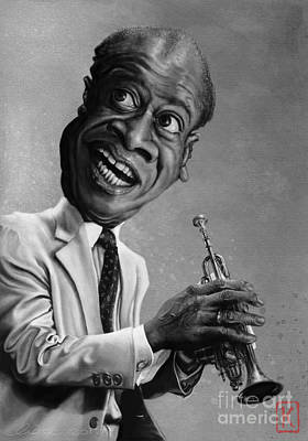 Digital Art Digital Art Drawing - Louis Armstrong by Andre Koekemoer