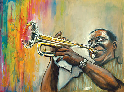 New Orleans Jazz Painting - Louis Armstrong by Edward Draganski