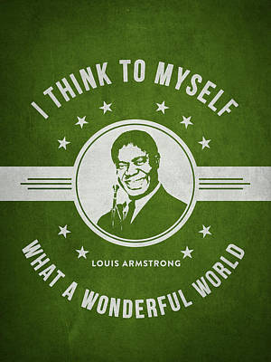 Jazz Digital Art - Louis Armstrong - Green by Aged Pixel